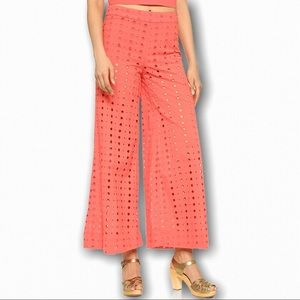Free People Coral Helena Eyelet Pants
